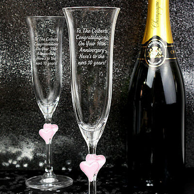 Personalised Engraved Pink Heart Glass Champagne Flutes Gift Idea for Wedding