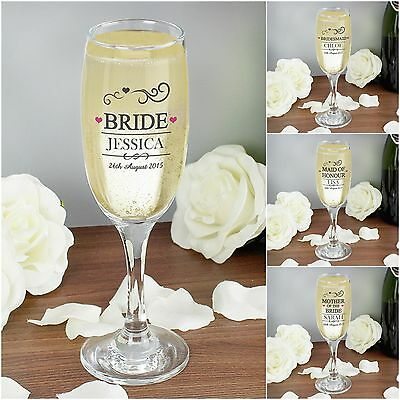 Personalised Glass Champagne Flute Wedding Thank You Gifts for Bride Bridesmaid
