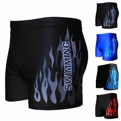 Men Sexy Boxers Comfy Briefs Swimming Swimwear Burning Flame Print Trunks Shorts