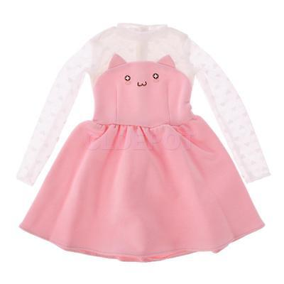 Cute Pink Cat Face Knitted Lace Sleeve One-piece Skirt Dress for 1/3 BJD SD