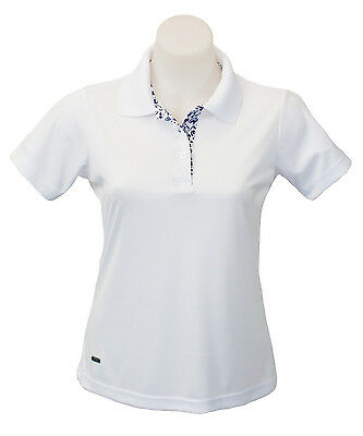"Women's Short Sleeve Golf Polo ""Signature Collection"" White w/ NavyTrim"