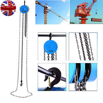 1Ton Chain Workshop Lifting Block Tackle Hoist Heavy Duty Car Load Lifting Tool