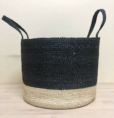 BLACK Weave Natural QUALITY Jute Braided Basket w Handles Large Hand Made Woven