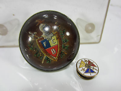 Vintage FCB Knights of Pythias Glass Medallion & Collar Button