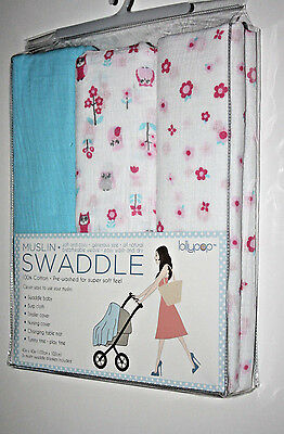 (3) Lollypop Muslin Swaddle Blankets Baby Girl Pink and Blue - NEW IN PACK