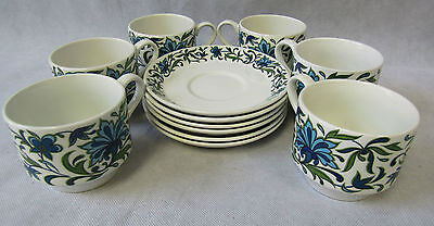 Vintage Retro 1960s Midwinter Pottery Spanish Garden Set of 6 Tea Cups & Saucers