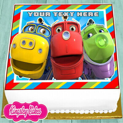 Precut Edible Icing 7.5 Inch Chuggington Personalised Square Cake Topper Ns1327
