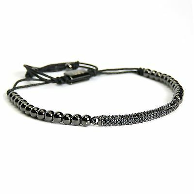 Men And Women's Beaded Bracelet Thin Plate Inlaid Crystal 24k Black Gold Plating