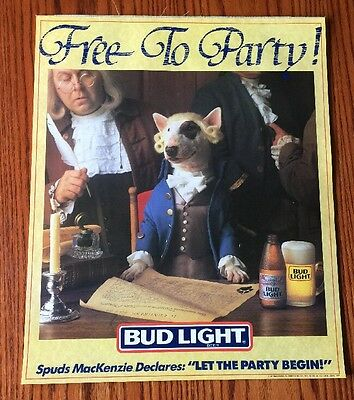 1987 Spuds Mackenzie Bud Light FREE TO PARTY Poster LET THE PARTY BEGIN