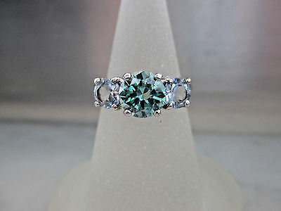 Antique Style 14K White Gold 1.16Ct Green Diamond and Aquamarine Engagement Ring