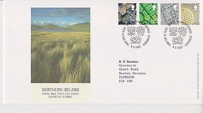 GB ROYAL MAIL FDC FIRST DAY COVER 2001 N. IRELAND 65P & NVI's DEFINITIVE BUREAU
