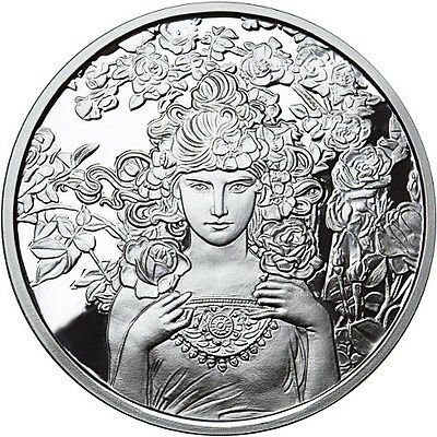 Alphonse Mucha Collection - ROSE 1 oz .999 Silver Proof Round USA Made Coin