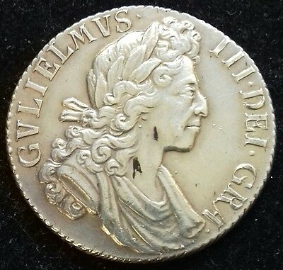 1700 Shilling. S.3516. Fifth Bust. About Extremely Fine. Document Included