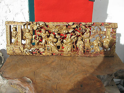 A1232 Antique Chinese Gold Gilt on Red Carved Wood Panel