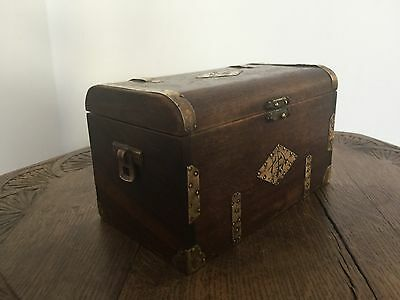 Vintage Antique Brass Detailed & Mahogany Tea Caddy