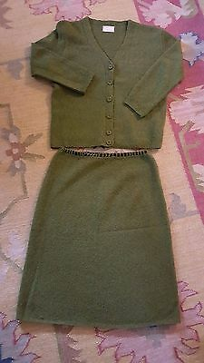 Vintage handmade XLNT handknit cardigan sweater skirt set knit green womens S/M