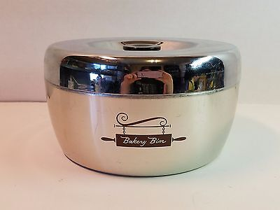 Vtg West Bend Aluminum Bakery Bin Canister Black Lid Chrome Silver Kitchen Decor