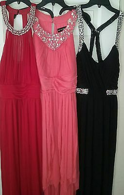Lot Of 3 Formal Black Coral Red Prom Dresses