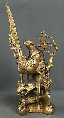 Chinese Fengshui Bronze Plum Blossom Branch Magpie Bird pied magpie Statue