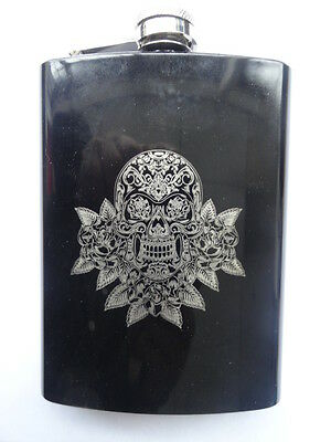 8 oz Black Stainless Steel Hip flask Whiskey Drinking  Liquor Laser Etched skull