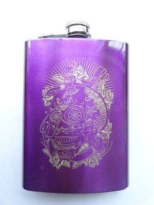 8 oz Purple Stainless Steel Hip Whiskey Drinking Flask Liquor Laser Etched skull