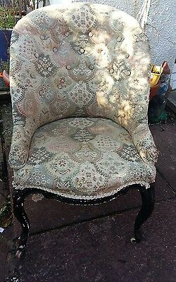 Antique Victorian button back chair