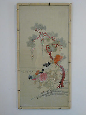 Large Vintage Chinese Framed Embroidery Textile w Birds 39""