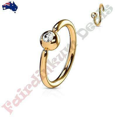 316L Surgical Steel Rose Gold Nose/Eyebrow Ring with Fixed Clear CZ Gem Ball