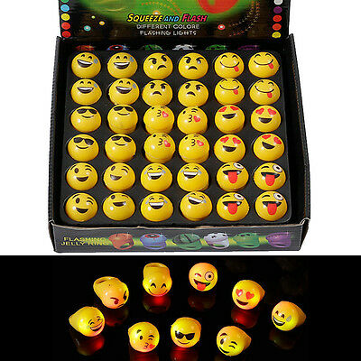 36pcs/set Light up Emoji Rings LOOPJOYGAME LED Flashing toys for Kids New