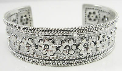 """Sterling 3/4"""" Wide Cuff Bracelet Repousse Hammered Flowers Rope Design 7 1/2"""""""