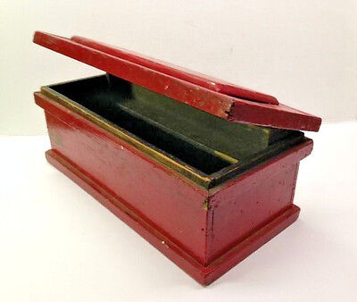 Old Small Red Paint Wooden Blanket Chest or Tool Box w Raised Panel Made in 1934