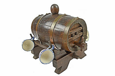 Antique Copper Bound Staved Oak Liquor Keg, 4 Cups, French.