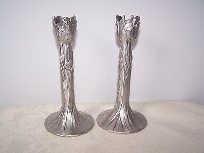 Pair Beautiful Seagull Pewter Candle Holders - Tulip Flowered Design - 1990