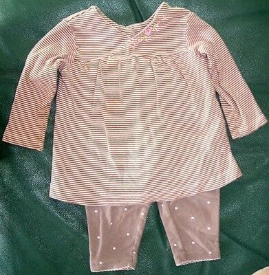 12 Month girls brown & pink striped top with polka dot leggings by Carter's