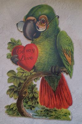 Vintage Antique Valentine Card 1930 Parrot Stands upright Germany
