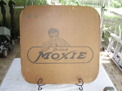 "Drink Moxie Sign Cardboard Reversible 23"" x 23"" Vintage Soda Soft Drink 1930's"