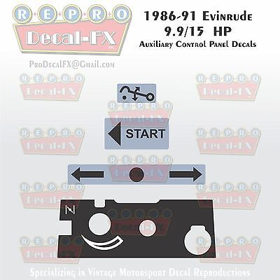 1986-91 Evinrude 9.9/15 Auxiliary Control Decal Outboard Repro 4Pc Marine Vinyl