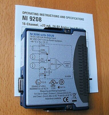 National Instruments NI 9208: 16 Ch, 500 S/s, ±21.5 ma Analog Input Module