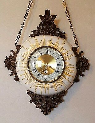 1880 French 8-Day Hanging Porcelain Antique Hand Painted Cartel Wall Clock