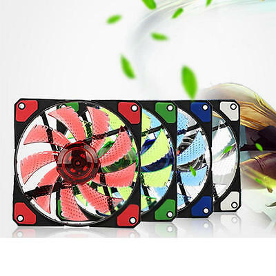 DC12V 3-4Pin 15LED Light Neon Quite Clear 120mm PC Computer Case CPU Cooling Fan