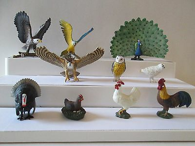 10 pc Schleich & other brands birds Eagle Peacock parrot chickens owls turkey