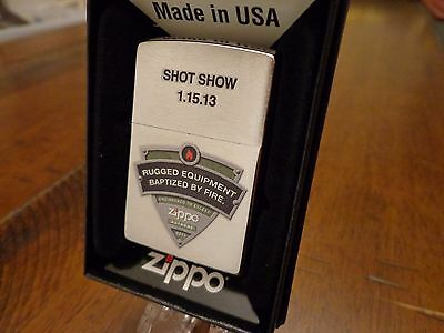 Shot Show 2013 Baptized By Fire Salesman Sample Zippo Lighter Mint In Box 2012