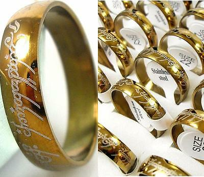 100x Men Women Fashion Gold Stainless steel Band Rings Wholesale Jewelry lot
