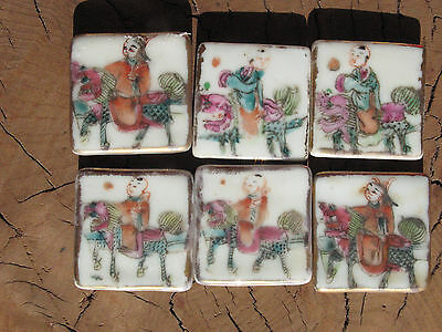 A1403 19th Century Set of 6 Chinese Export Porcelain Famille Rose Salt Cellars