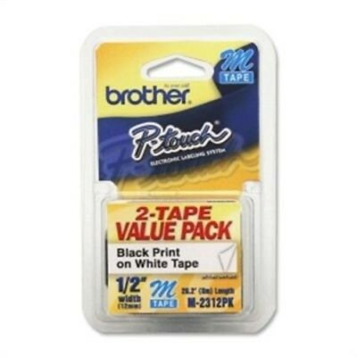 """1 2"""" Black on White 2-pack, by Brother International, (2 Pack of 12mm (0.47"""") B)"""