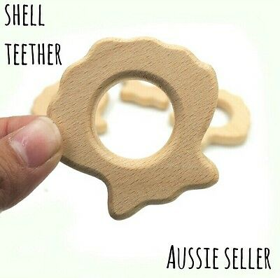 X1 Shell Natural organic wooden teether baby teething toy necklace ring Beach