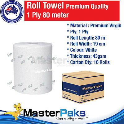 Paper Hand Towels Roll Towel Bulk Industrial Kitchen White 80m 1Ply Premium