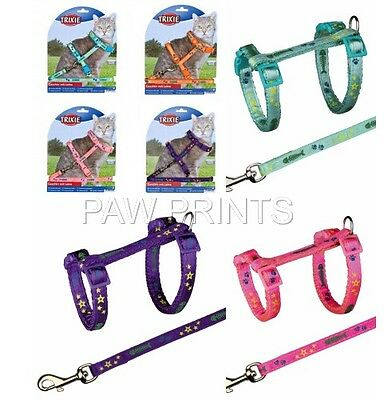 Colourful Cat Adjustable Harness & Lead Set Fish Paw Print Design 4209