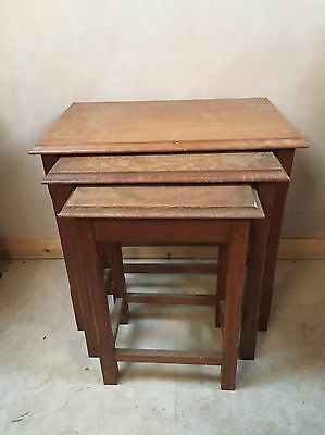 "Nest Of Tables Solid Oak  Rectangular Top On Square Chamfered Legs  VGC 22""H"