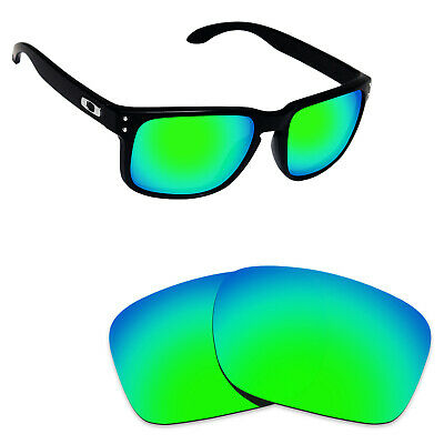 Hawkry Polarized Replacement Lenses for-Oakley Holbrook Emerald Green Mirror